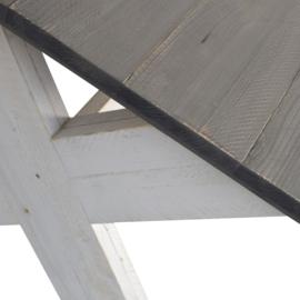 Bank Eleganza kruispoot steigerhout beton grijs zitting & schelpwit onderstel