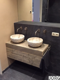 Badkamermeubel zwevend van steigerhout met 2 lades naast elkaar (ZW)