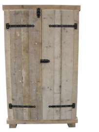 Kledingkast Steigerhout met 2 brede schappen en 1 breed hang gedeelte (KM2)