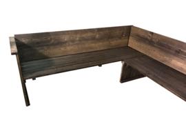 Hoekbank van steigerhout met zij en rug leuning (WH)