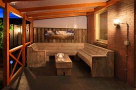 U bank + tafel complete set van oud steigerhout