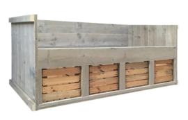 Bed steigerhout Koen oud hout en fruitkisten wit afm: 80x200cm (voorraad magazijn artikel)