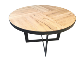 Eiken tafel Berlijn mozaïek met een stalen rand en een massieve u poot