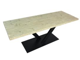 Industriële tafel met stalen V onderstel koker 120x60 met dikke steigerplanken (RECHT)
