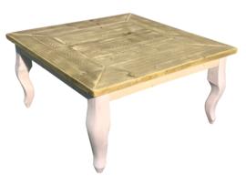 Salontafel van oud steigerhout afm: L80xB80xH46cm (voorraad magazijn artikel)