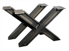 Stalen tafel onderstel model kruis H profiel 12x12cm B60xH71cm (voorraad magazijn artikel)