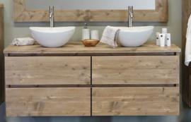 Badkamermeubel zwevend van steigerhout met 4 lades (ZW)