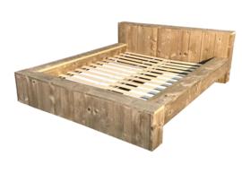 Tweepersoons blokbed steigerhout ZAND afm: L200xB160cm (voorraad magazijn artikel)