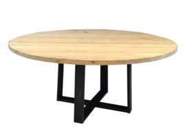 Eiken ronde tafel 4cm dik blad en dubbel stalen onderstel (chantal)