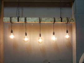 Hanglamp industrieel houten balk 5 fittingen 110cm