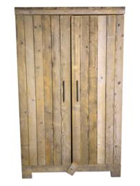 Kledingkast steigerhout met 6 schappen en 2 hang gedeeltes (KZ6)