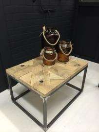 Salontafel mozaïek eikenwagonplanken met stalen buisframe
