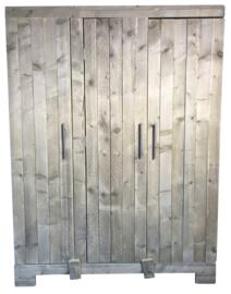 Kledingkast steigerhout met 3 deuren en 7 schappen 1 breed hang gedeelte (KZ2)