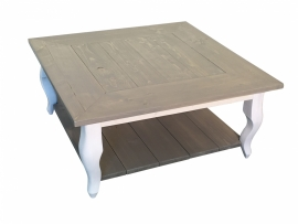 Salontafel Queen Anne steigerhout met schap en grey wash (80x80)