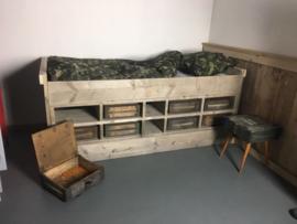 Bed steigerhout Army legerkisten