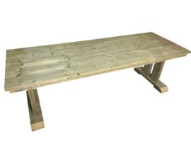 Tafel Dennis oud steigerhout onderstel oude balken