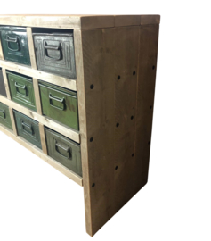 Vakkenkast van steigerhout 12 vaks met metalen bakken