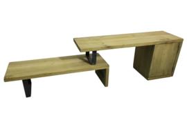 Tv meubel gemaakt van rustiek 4cm dik eikenhout en onbehandeld staal