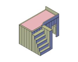 Doe-Het-Zelf bouwpakket  hoogslaper met berging van steigerhout
