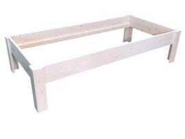 Bed van steigerhout behandeld met whitewash afm: L200xB90cm (voorraad magazijn artikel)