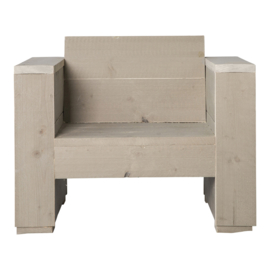 Loungestoel steigerhout massief kleur zand