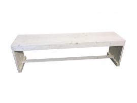 Bank gemaakt van nieuw steigerhout whitewash afm: L165x40cm (voorraad magazijn artikel)