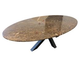 Tafelblad Ovaal marmer Marron Emperador Bruin afmeting 200x100cm