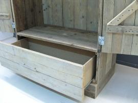 Kledingkast steigerhout met 1 breed schap, 1 hang en 1 grote lade