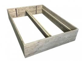 Kinderbed van oud steigerhout met planken op zijn kant  afm: L200xB90cm (voorraad magazijn artikel)