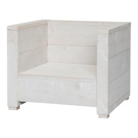 Steigerhouten loungestoel Varia schelp wit