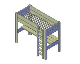 Doe-Het-Zelf bouwpakket hoogslaperbed met bureau van oud of nieuw steigerhout
