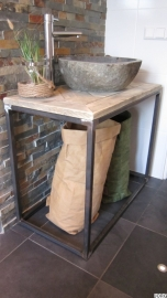 Badkamermeubel oud steigerhout mozaïek met stalen buisframe (1504080)
