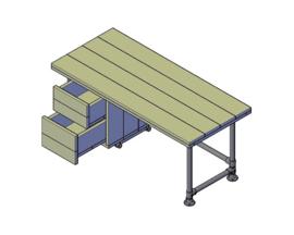 Doe-Het-Zelf bouwpakket bureau met opbergkast steigerbuis steigerhout 120cm lang