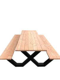 Picknicktafel stalen onderstel