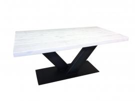 Industriële salontafel stalen V onderstel met een whitewash blad afm: L150xB120xH78cm (voorraad magazijn artikel)