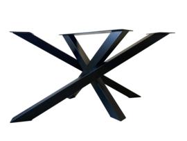 Stalen tafel onderstel model Twist koker 8x8cm (lang) L136cmxB80cmxH71cm - gepoedercoat RAL9005 (voorraad magazijn artikel)