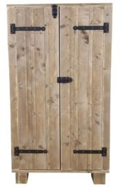 Doe-Het-Zelf bouwpakket kinder kledingkast van steigerhout afm: 180hoog x 100breed x 40diep