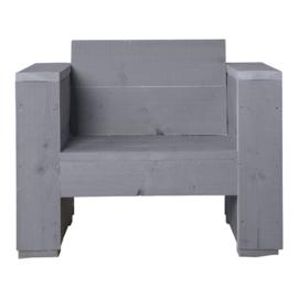 Loungestoel steigerhout massief kleur beton grijs