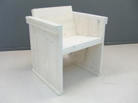 Eettafel- stoel van nieuw steigerhout behandeld met een whitewash  (WH)
