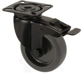 Zwenkwiel met rem zwart met bevestigingsplaat 100 mm