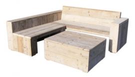 Doe-Het-Zelf bouwpakket Lounge hoekbank van nieuw of oud steigerhout