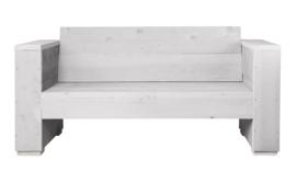 Loungebank steigerhout massief 2- zits kleur schelpwit