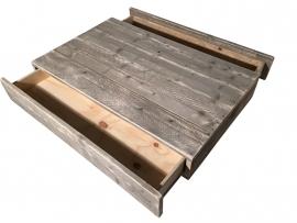 Salontafel steigerhout met 2 lades L130xB86xH30cm