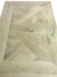 Tafel QUEEN ANNE mozaïek blad eikenhout met witonderstel
