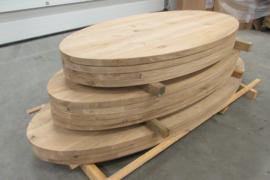 Eiken ovaal tafelblad verlijmd 40mm dik