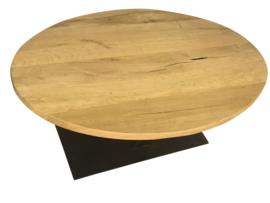 Salontafel ovaal eikenblad 4cm met een stalen V onderstel koker 120x60 (LIJM)