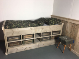 Bed steigerhout Army legerkisten