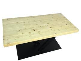 Industriële tafel balken 7x24,5cm met stalen V onderstel koker 120x60 (RECHT)