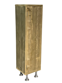 Staande kast van oud steigerhout links draaiend afm H180xB40cm (voorraad magazijn artikel)