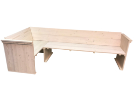 Hoekbank steigerhout whitewash zij en rug leuning (WH)